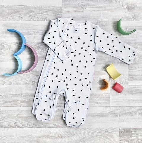 Комбинезон  Sleep and Play Basic Горошки, швы наружу