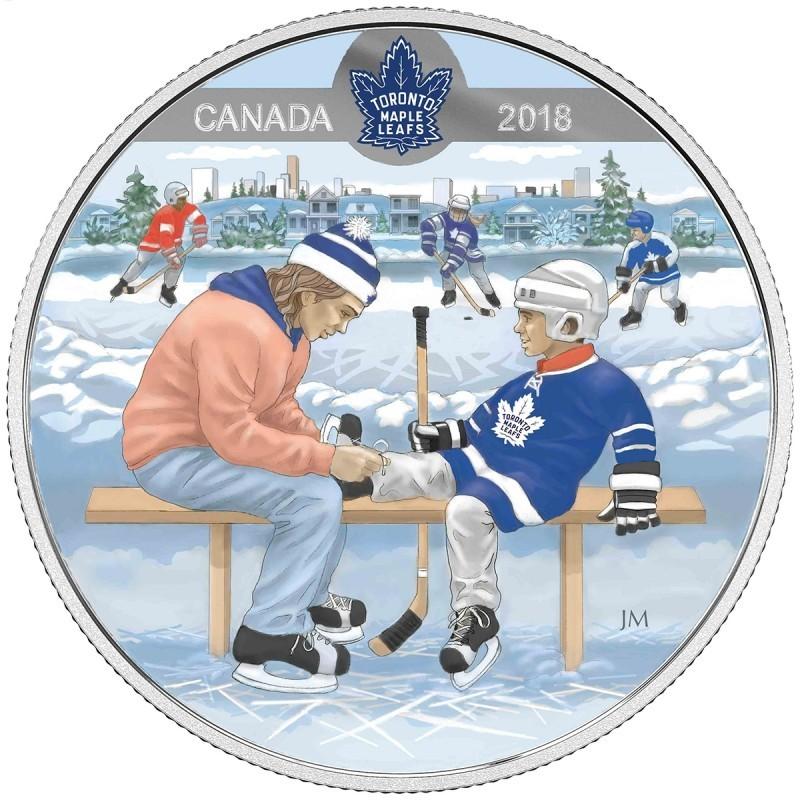 10 долларов 2018 Канада. Хоккей НХЛ Торонто Мейпл Лифс - Учимся играть. Серебро