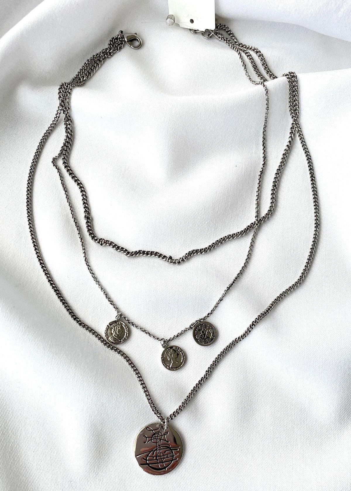 Цепь трехрядная с большой и малыми монетами (черненый)