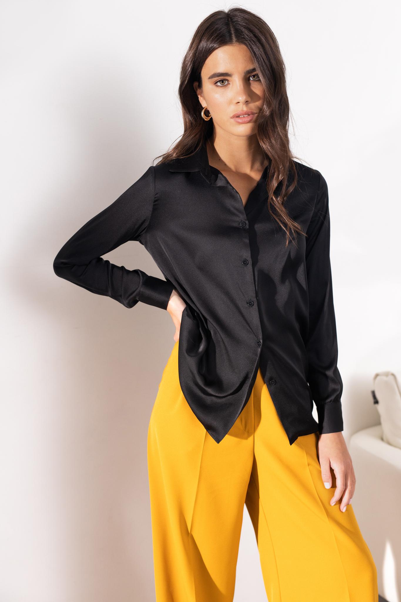 Классическая шелковая рубашка (черный)
