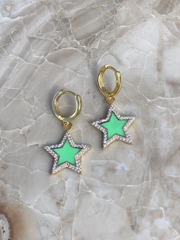 Серьги Стелла из позолоченного серебра, светло-зеленая эмаль