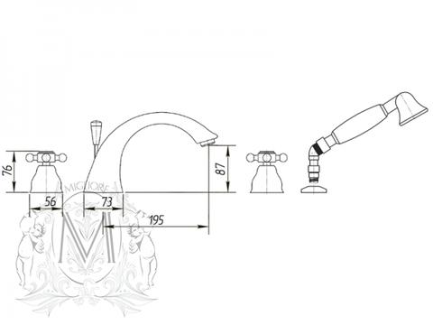 Смеситель на борт ванны 4отв.   Migliore Lady ML.LAD-981  схема