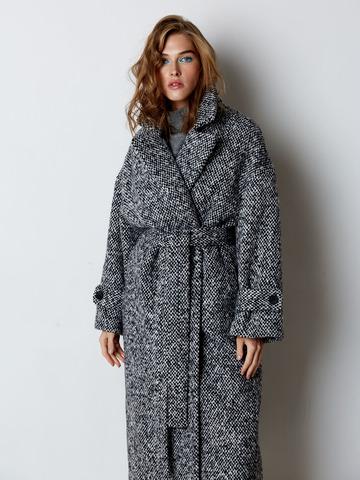 Пальто объемного кроя из шерсти Max Mara черный/белый