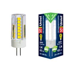 LED-JC-220/5W/4000K/G4/CL GLZ09TR Лампа светодиодная, прозрачная. Белый свет (4000К). Картон. ТМ Uniel.