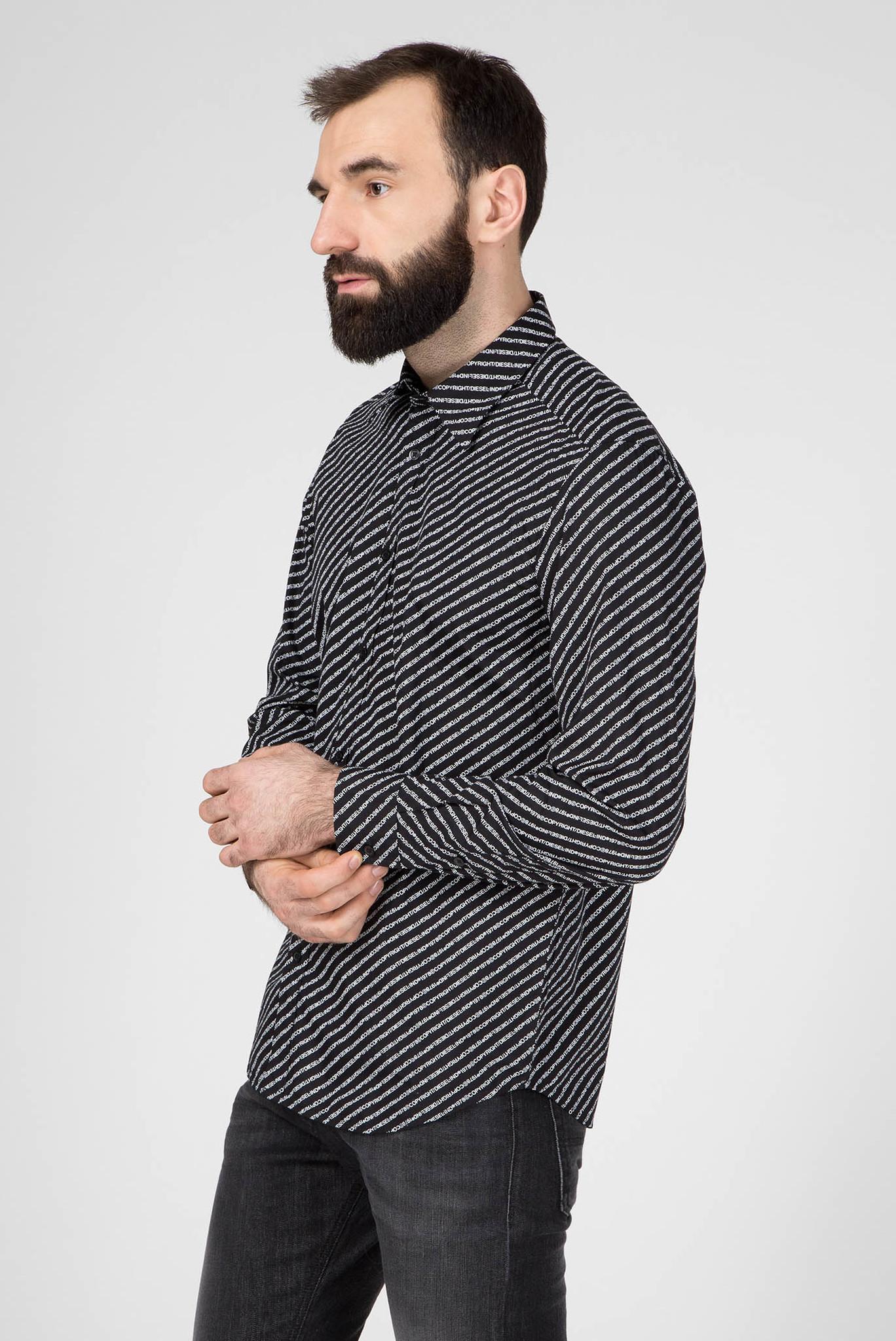 Мужская черная рубашка с принтом S-PENN-COPY Diesel