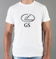 Футболка с принтом Лексус GS (Lexus GS) белая 0018