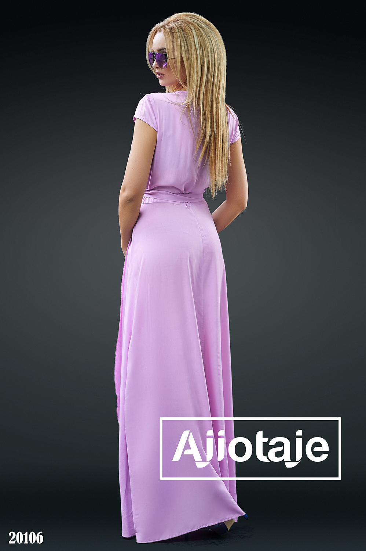 Платье на запах лавандового цвета
