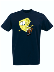 Футболка с принтом мультфильма Губка Боб Квадратные Штаны/ Спанч Боб (SpongeBob SquarePants) темно-синяя 005