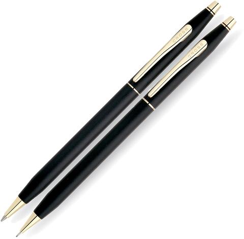 Набор подарочный Cross Сentury Classic - Black Matte GT, шариковая ручка + карандаш