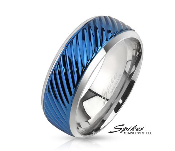 R-M3892B-8 Широкое стальное кольцо синего цвета, «Spikes»