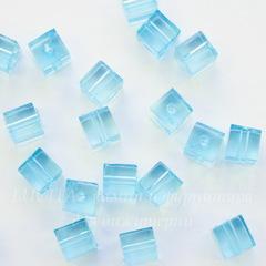 Бусина акриловая кубик голубой 7х7 мм, 10 штук