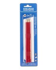 Карандаши чернографитные TRIOGRAPH 1802, B, 3шт, красный корпус, блистер