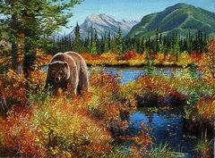 Картина раскраска по номерам 50x65 Медведица в осеннем лесу