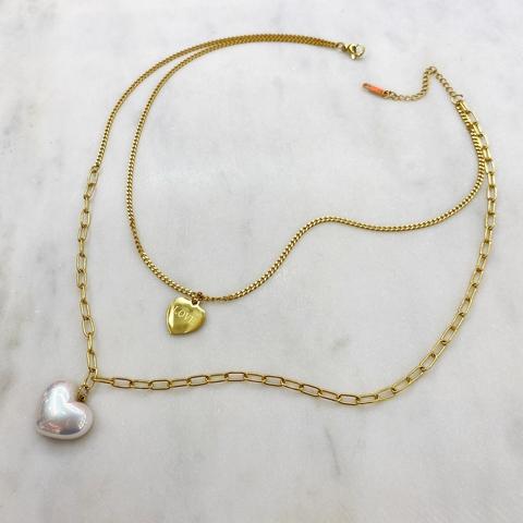 Колье-цепь двухрядное LOVE с жемчужным сердцем (золотистый)