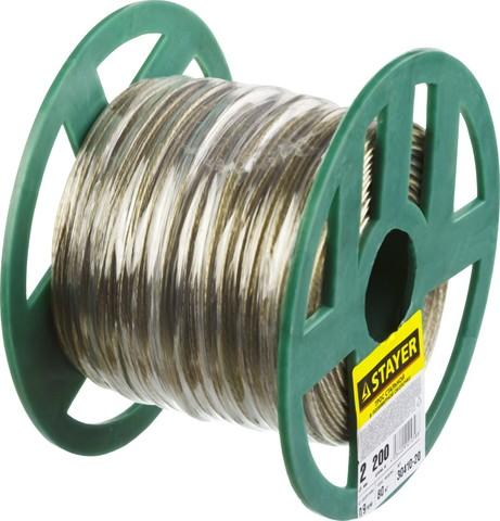 Трос стальной в полимерной оболочке, d=2,0 мм, L=200 м, STAYER