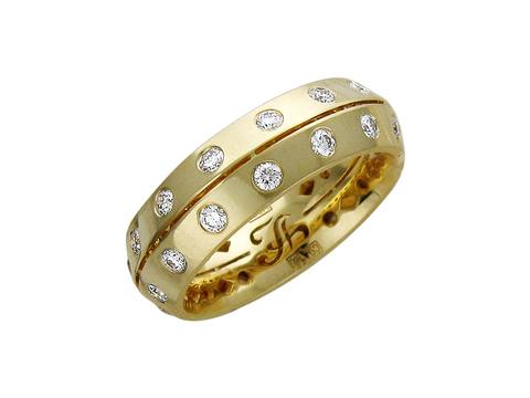 01О640195 - Обручальное кольцо из желтого золота 750 пробы с бриллиантами