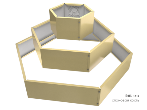 Клумба многоугольная оцинкованная Альпийская горка 3 яруса RAL 1014 Слоновая кость