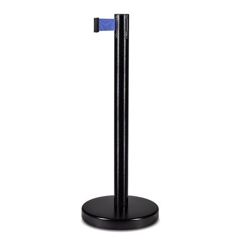 Столбик ограждения TEH_BSLN-326332 черный стойка с вытяж.лентой L-2 м синий