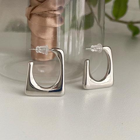 Серьги-конго квадратные скобы (серебристый) ш925