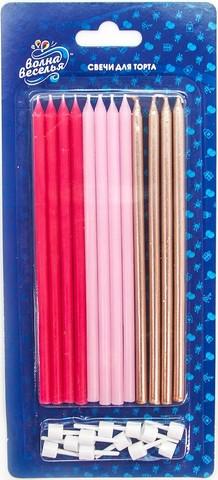 Свечи Розовый микс, Металлик, 14,5 см, 12 шт.