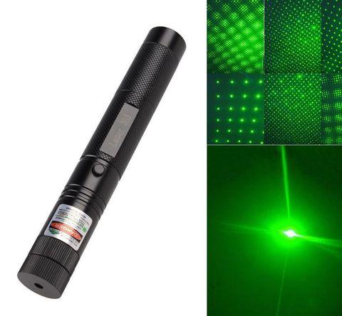 Лазерная указка Green Laser Pointer 303 зеленая с дополнительной насадкой, 5000 mW