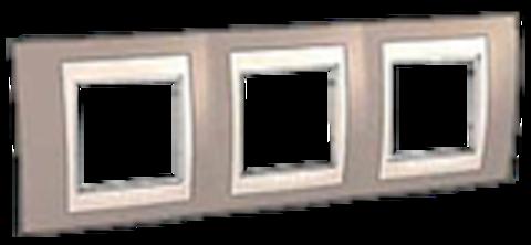 Рамка на 3 поста. Цвет Коричневый/Белый. Schneider electric Unica Хамелеон. MGU6.006.874