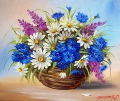 Картина раскраска по номерам 50x65 Букет с белыми, синими и фиолетовыми цветами