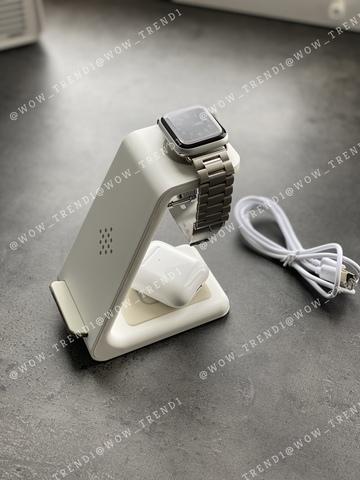 Беспроводная зарядка стенд + блок Smart 3 in 1 T3 Fast 15W /white/