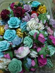 Роза из бумаги премиум, на проволоке, 2,5 см, 1 шт.