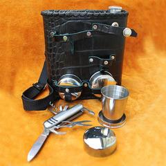 Фляга, натуральная кожа, 3 стакана и нож, 1 л., фото 7
