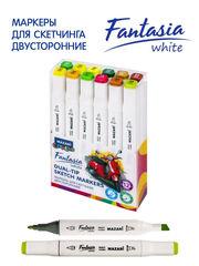 Mazari Fantasia White набор маркеров для скетчинга 12 шт двусторонние спиртовые пуля/долото 2.5-6.2 мм (лесные)