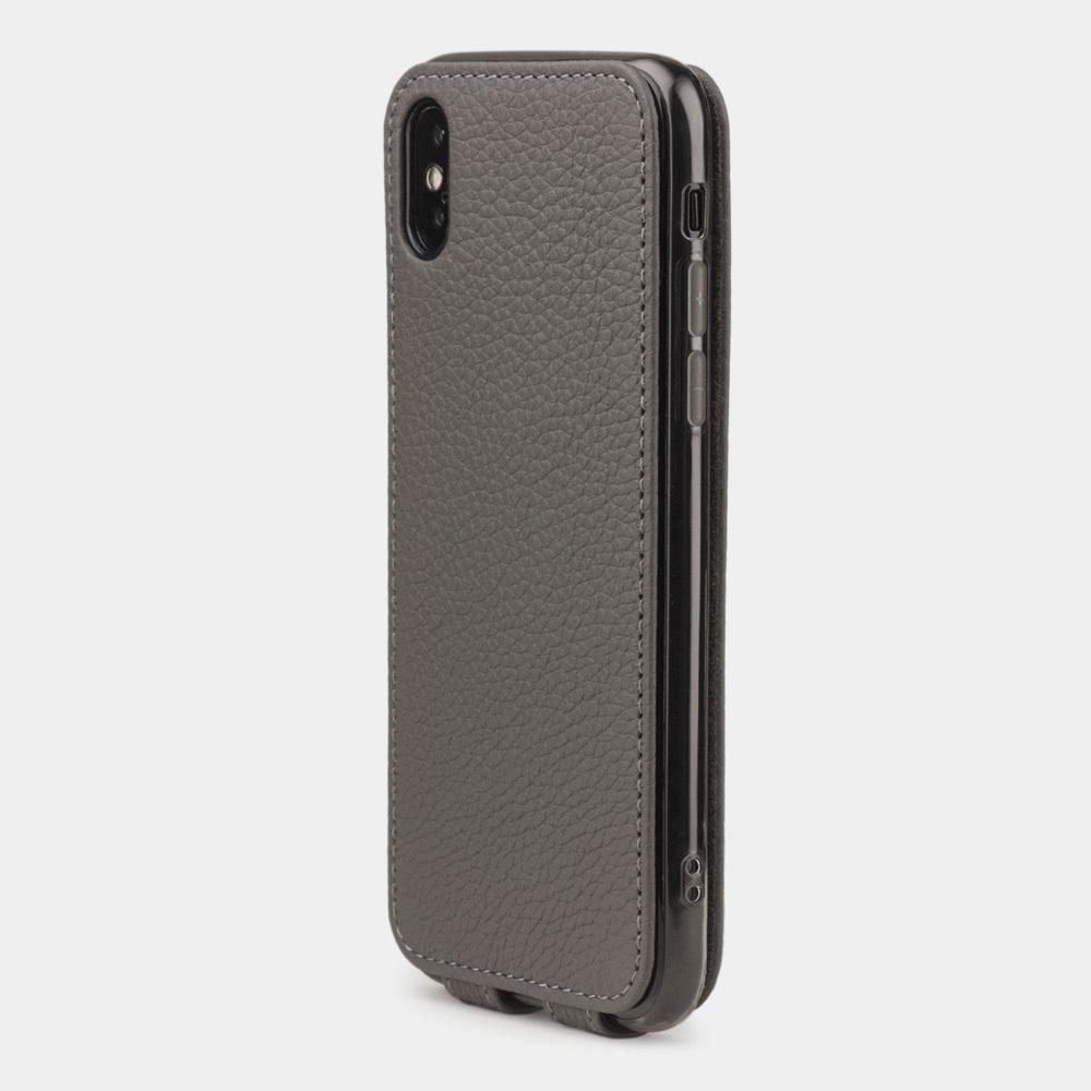 Чехол для iPhone X/XS из натуральной кожи теленка, серого цвета