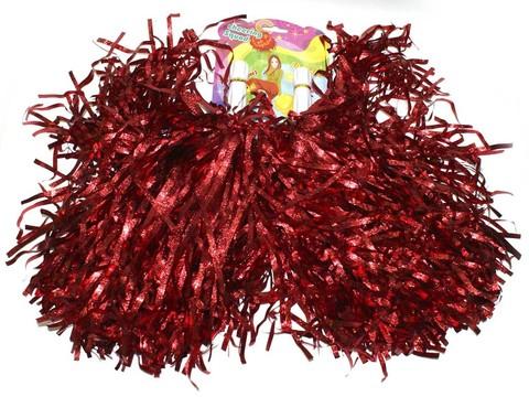 Помпоны для черлидинга металлизированные. Цвет красный. Ручка пластмассовая: длина 10 см, диаметр 2 см. SLB-40К