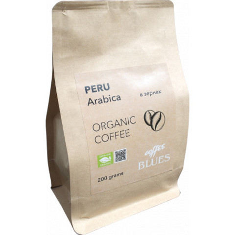 Blues Coffee, кофе органический в зернах, Peru Organic, 200 гр
