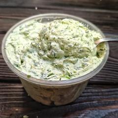 Сыр сливочный с зеленью из козьего молока /300 г./ РАСПРОДАЖА