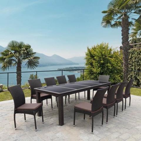 Комплект плетеной мебели T438/Y380A-W53 Brown (10+1)