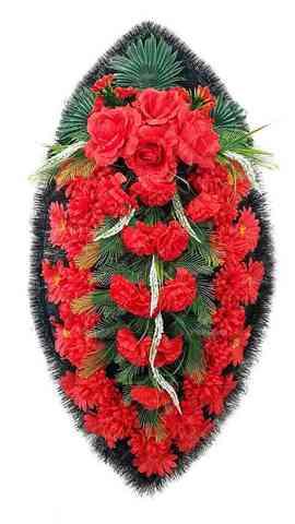 Венок из искусственных цветов розы, гвоздики, хризантемы, герберы