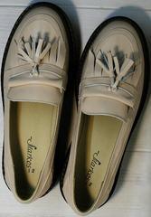 Демисезонные туфли лоферы женские кожаные Markos S-6 Light Beige.