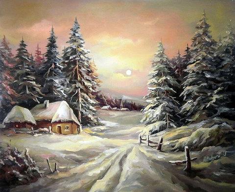 Картина раскраска по номерам 40x50 Зимняя деревушка