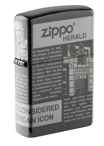 Зажигалка Zippo Classic с покрытием Black Ice, латунь/сталь, чёрная, глянцевая, 36х12х56 мм
