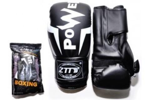Перчатки бокс 8oz, 100% кожзам, многосл. н-ль из вспененного полиуретана цв. черный/бел Q116 (СПР) (15368)