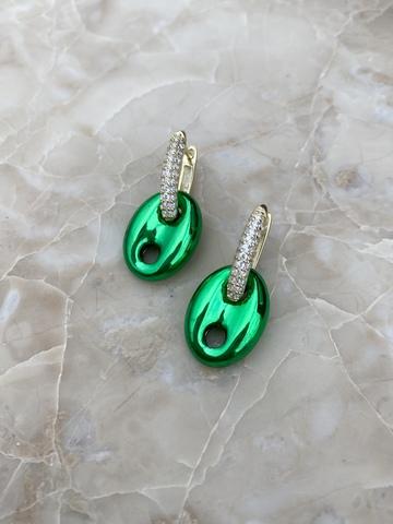 Серьги Баттон из позолоченного серебра, зеленые