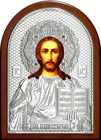Серебряная инкрустированная гранатами икона Иисуса Христа Спасителя 34х25см в подарочной коробке