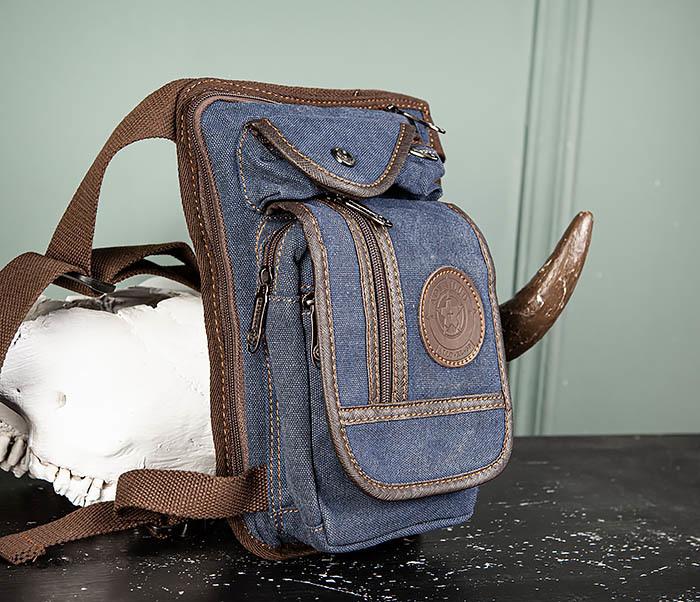 BAG506-3 Небольшая сумка на бедро из текстиля синего цвета фото 03