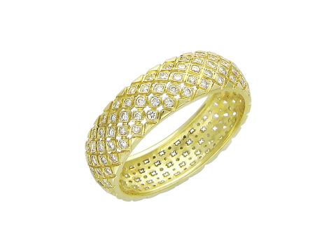 01О640238 - Обручальное кольцо из желтого золота 750 пробы  с бриллиантами