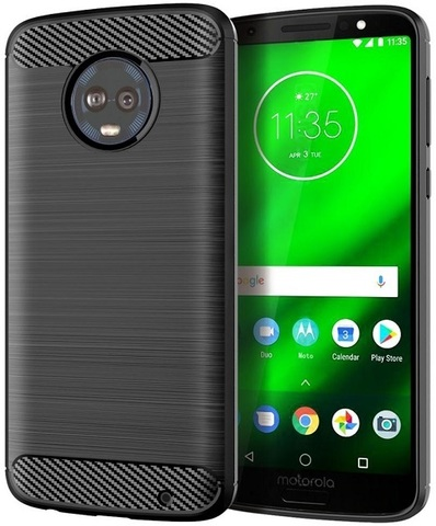 Чехол Motorola Moto G6 Plus цвет Black (черный), серия Carbon, Caseport