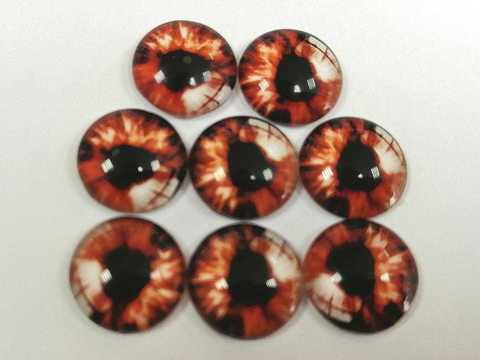 Глазки стеклянные,  10мм, коричневые. 1уп-8шт. (1162)
