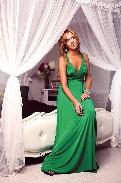 Длиннное вечернее платье-трансформер, зеленое