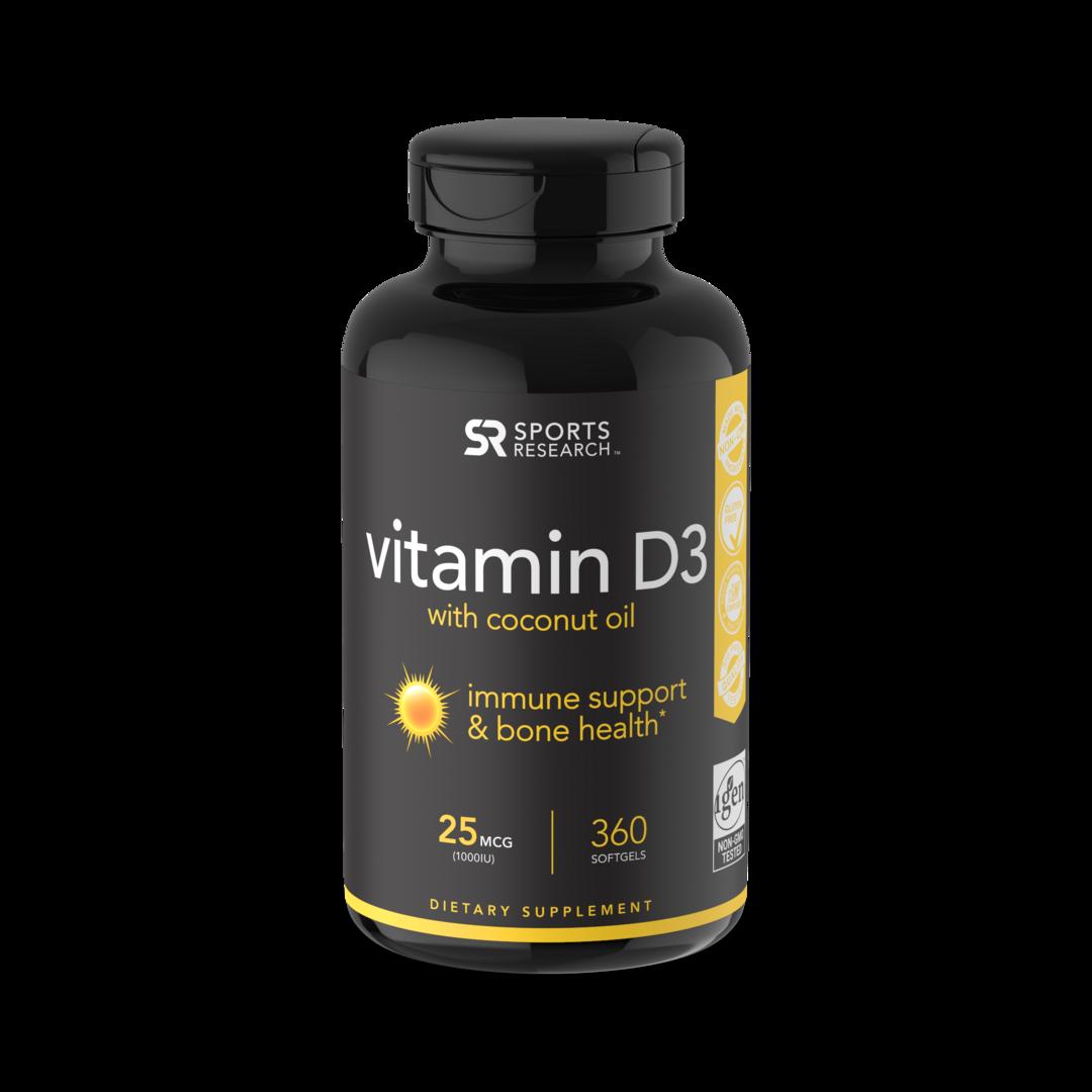 Витамин D3, 1000 МЕ, Vitamin D3, Sports Research, (360 капсул)