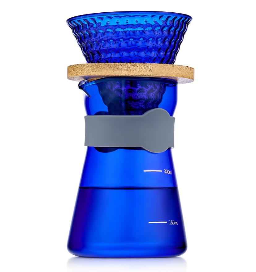Кофеварки Кемекс, кофейники, френч пресс (Chemex) Пуровер, стеклянная кофеварка для фильтр кофе, 400 мл синее стекло 5-010-400b.PNG